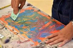 Sixth graders created decorative paper for a collage