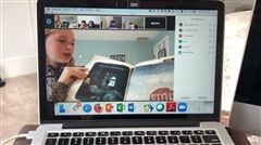 One student read to young children via Zoom.