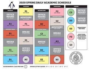 2020 Spring Academic Daily Schedule