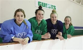 New Brunswick's Tiah Scichilone, 17, Newfoundland and Labrador's Izzy Weist, 17, Nova Scotia's Mallory Thornhill, 16, and Prince Edward Island's Heidi Lauwerijssen, 16, will all compete for their respective province's in the Canada Winter Games. They are four of 13 Rothesay Netherwood School female hockey players off to Reed Deer, Alta. to compete in the games. Photo: Robert Williams/ Telegraph-Journal