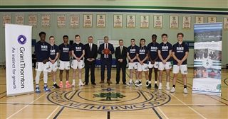Grant Thornton LLP representatives, Paul Fudge and Shane Snow, joined Head of School Paul McLellan and the RNS Prep Boys' Basketball Team at the December 13th sponsorship announcement.