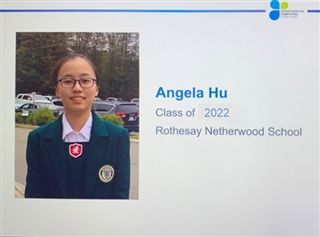 Grade 11 student Angela Hu is a 2021 East Coast NCWIT award winner.