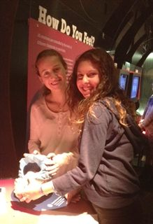 Lilah Rosenthal ('16) and Lenna Zosky-Shiller ('16) build a model brain at the Ontario Science Centre.