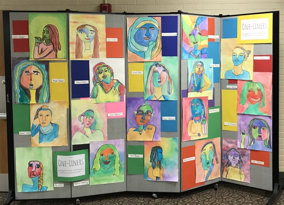 shown is work done by the entire Art 1 class.)                                                                                                       Anamica Arpie, Claudia Consiglio, Riley Good, Morgan Hannafin, Rebekah Hannoush, Castine Hardesty, Alexandra Lasch, Sophia Mendrick, Erin O'Malley, Sofia Pantoja, Faith Rainis, Katelyn Regan, Melanie Richter, Piper Rizzo, Margaret Seymour, Gwendolyn Sprague, Emilia Suarez, Anaya Thomas, Schuyler Turley, Bailee VanDenburgh