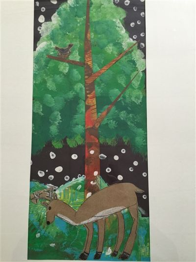 "Peter Sundborg, 2nd Grade, Mixed Medium ""The Deer"" Honorable Mention"
