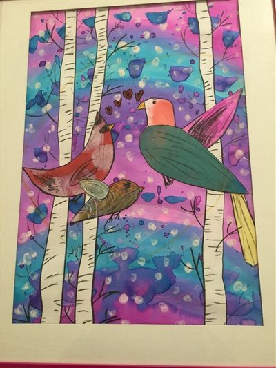 "Christina Acker, 2nd Grade - Mixed Medium ""Winter Birds"" Honorable Mention"