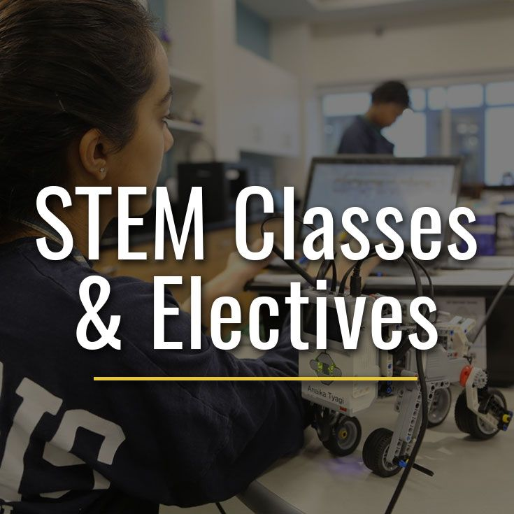 STEM is woven into many classroom experiences, emphasizing inquiry-based learning, the engineering process, the scientific method, coding, and hands-on design.