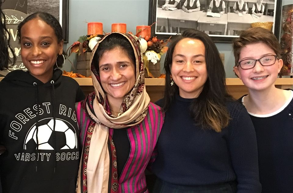 Shabana Basij-Rasikh, pictured second from left, with Forest Ridge Students