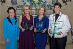 Pictured left to right: Dr. Rosalie Mirenda, Elaine Fry Reilly '83, Sheila Walsh '88, and Anita Kennedy