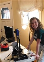 Margaret Atkins '21 with her 3D Printer
