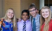 Mackenzie Storie, Jerome Siangco, Ethan Kusters and Kate Christiansen at the HOBY Leadership Conference.