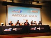 Arend Broekmate, Alex Neale, Jeremy Thielbahr, Harley Kirsch, Matt Kvech and Cody Baker at the inaugural USA Football and MaxPreps High School Football Media Day hosted by the Seattle Seahawks.