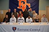Front row (L-R): Olivia Cerion, Max Hudgins, Matisse Thybulle, Mandrell Worthy, Ashley Blanton, Cameron Cronk Back row (L-R): Father William Heric, Interim President Tom Lord, Principal Polly Skinner, Head Boys Basketball Coach Bill Liley, Athletic Director Jeremy Thielbahr, Assistant Athletic Director Stacey Stoutt