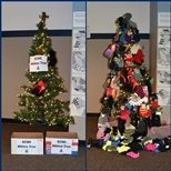 The Mitten Tree before and after the donations.