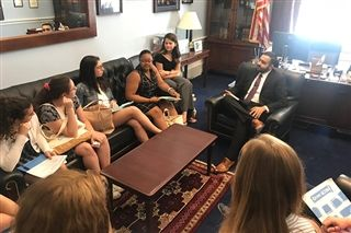 Students met with members of Joe Kennedy's staff in the congressman's Washington office.