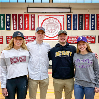 Annabelle Hasselbeck, Aidan Davock, Riley Van Duzer, and Addy Vettel all signed Letters of Intent to compete in Division I athletics programs.