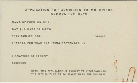 Rivers School Application Form for the 1916-1917 school year