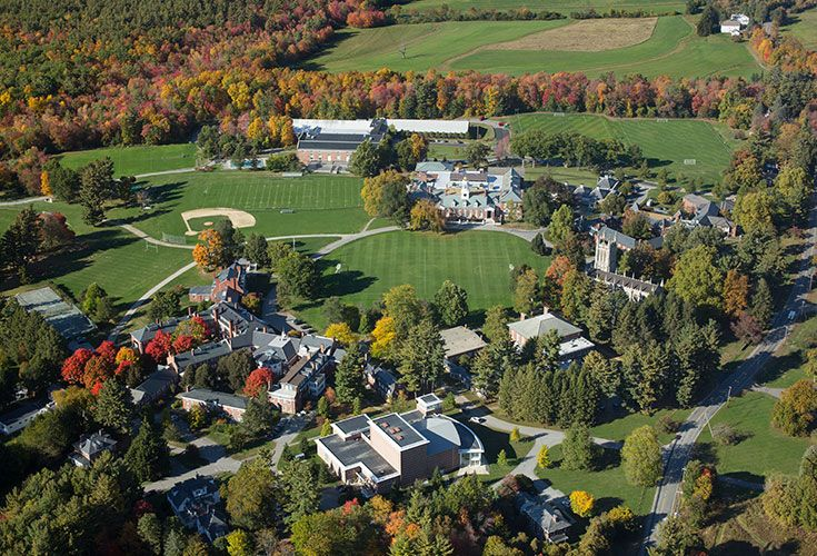 An aerial view of the Circle, the focal point of Groton's campus