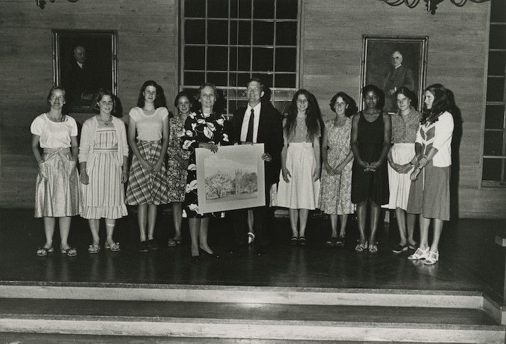 Headmaster Cox with some of the first girls to attend Groton