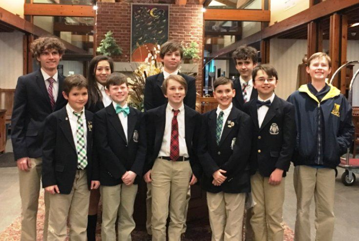 Pictured here: Front Row (left to right) Mason G., Pierce A., Finley C., Nicholas B., Henry A. Second Row (left to right): Edward Noe (Alumnus), Maya D., Ryan S., George N. and Preston Aldridge (Alumnus)