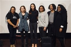 Savannah Shepherd '20 (3rd from left) joins Christy Taylor (Bryan Stevenson's sister), Attorney General Kathleen Jennings, Rep. Sherry Dorsey Walker, EJI Senior Attorney Cathleen Price, and Kailua Richards from the Delaware Center for Justice.