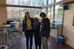 acclaimed journalist and children's author Bettinita Harris (center) joins Katie Trachtenberg '06 and Nia Naylor '20 following Ms. Harris' presentation.