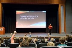 Sanford administrator and parent Tanya Graham educates and inspires Lower School students during her call and response program, presented during Black History Month.
