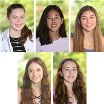 Clockwise from top left, Josephine Freis '21, Ashley Fujiyama '21, Lauren Ives '21, Sarah Muoio '21, and Katherine Robinson '21.
