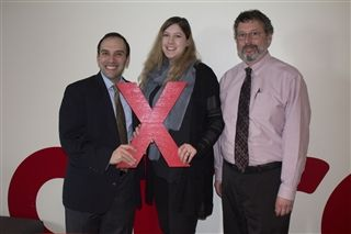 Head of School Rabbi Marc Baker, TEDxWalthamED organizer Sharona Goder-Peled and Director of Teaching and Learning Jacob Pinnolis