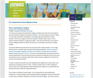 Read 'Why Coeducation Matters' from the NAIS blog