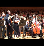Matt Musachio '16, second from left, and fellow BSYO musicians with an exuberant Yo-Yo Ma.