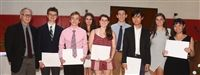 Upper School science teacher Bill Hilgartner with Friends' newest Cum Laude inductees.