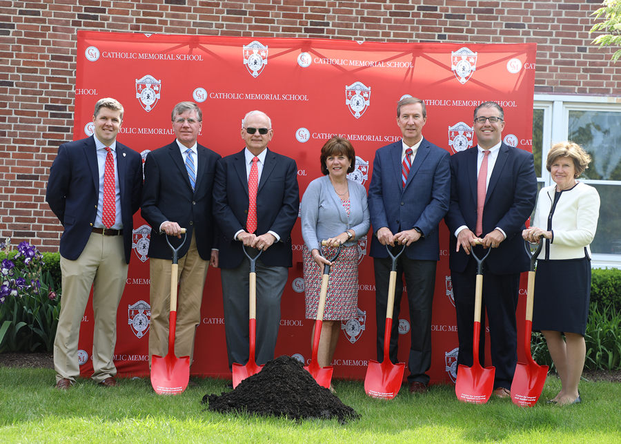 Representatives from the Yawkey Foundations, among other friends, alumni, and parents of CM, attending the June 6 groundbreaking ceremony.