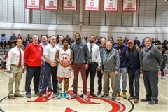 Kurtis poses with eight other CM 1,000-point scorers in a ceremony on Friday, Jan. 24, 2020.
