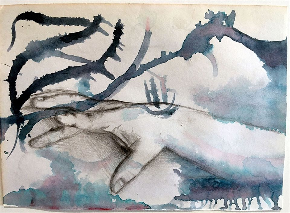 Shoshanah Alessi '21, Hand 1, Watercolor, Graphite on Paper, 2019