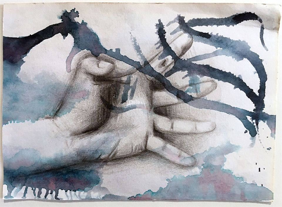 Shoshanah Alessi '21, Hand 2, Watercolor, Graphite on Paper, 2019