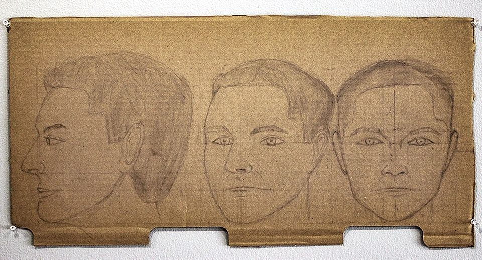 7. Graphite, Cardboard I researched human dimensions a drew a model of a human head from three different angles.