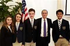 WAC Meet with Gordon Chang: Bella Cooper, Maeve Reicher, George Sowles, Alejandro Wang and the speaker:  Gordon Chang