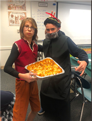 7th graders Max Plotkin and Noah Hernandez posed for a photo while displaying their Renaissance characters.