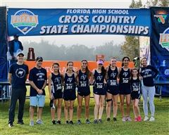 Varsity Girls Cross Country Team at the State Competition