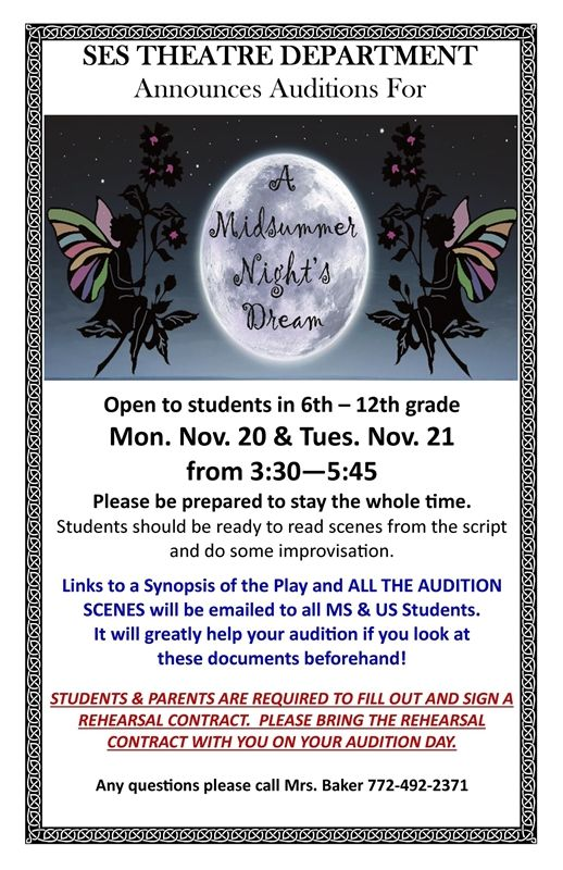 Auditions for A Midsummer Night's Dream | Saint Edward's School