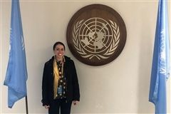 Class I Teacher Mikala Forrester presents at the United Nations on behalf of her tribe, the Mashpee Wampanoag.