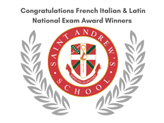 SA Congratulates French, Italian, & Latin National Exam Award Winners