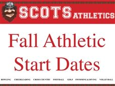Fall Athletic Start Dates - MS and US