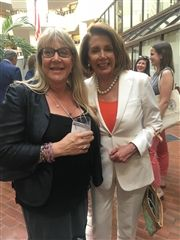 Anita Alvin Nilert '78 with Speaker Nancy Pelosi at Georgetown University, where Anita is leading a series of art dialogues that explore creative approaches to health and human rights issues.