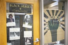 Black Lives Matter door decorations during Black History Month.