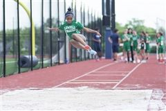 Isabella Castillo competing in Long Jump for Track and Field.
