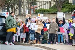 Primary School students gather for the Peace and Kindness March