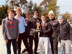 Boys Cross Country Team with trophy - St. Andrew's Episcopal School