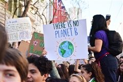 Young climate activists participate in a demonstration.
